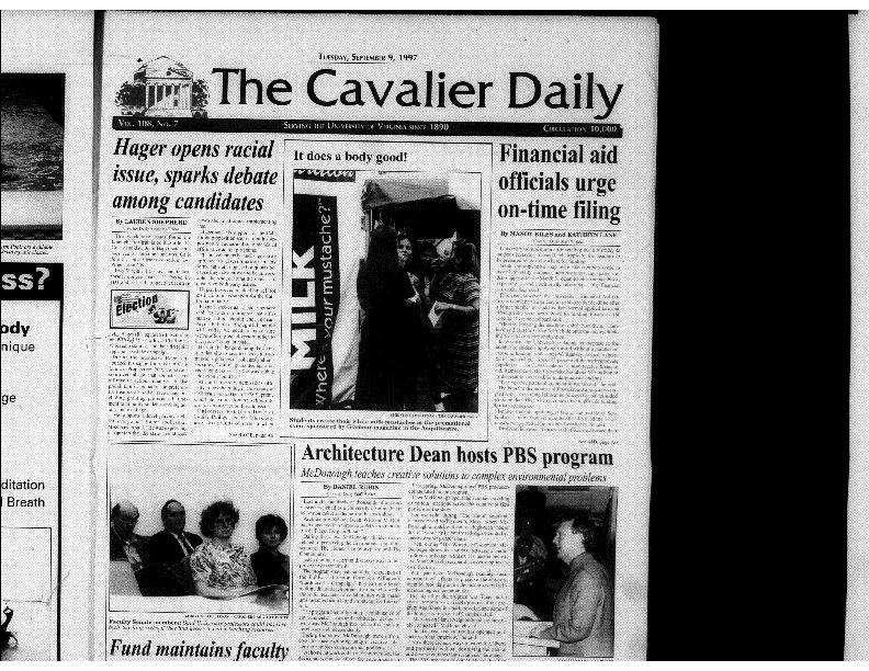1997-09-09 Cavalier Daily Hager Opens Racial Issue, Sparks Debate Among Other Candidates.pdf