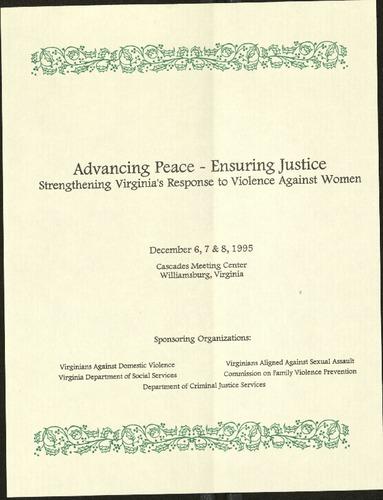 Advacning Peace-Ensuring Justice-Strengthening VA's response to violence against women- Dec. 1995.pdf