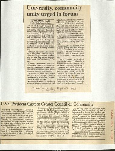 University, community unity urged in forum-Katz, UVA President Casteen creates council on community.pdf