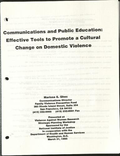 Communications & Public Education- Effective tools to promote a cultural change on Domestic Violence- Marissa E. Ghez.pdf