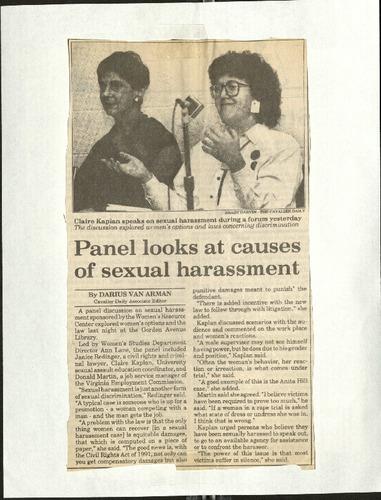 Panel looks at causes of sexual harassment- Van Arman.pdf