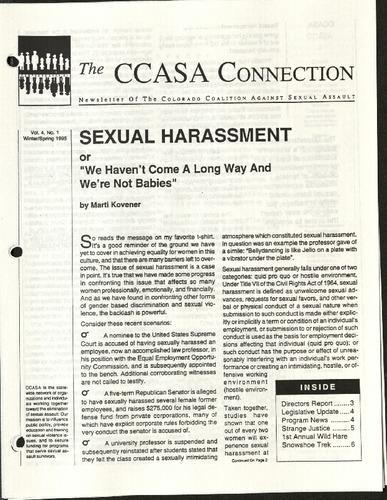 CCASA Connection- Sexual Harassment- Vol. 4, No. 1- Winter:Spring, 1995.pdf