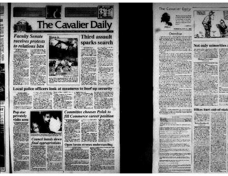Cavalier Daily Apr 21, 1993 - Third assault sparks search; Faculty Senate receives protests to relations ban; Local police officers look at measures to beef up security.pdf