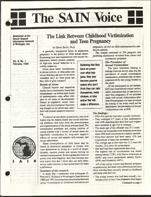The SAIN Voice- The Link btwn Childhood Victimization & Teen pregnancy.pdf