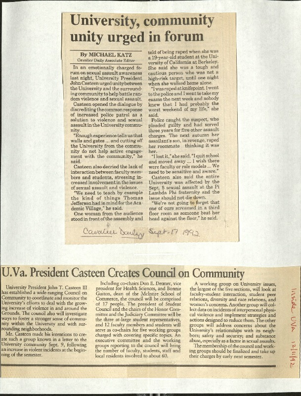 University, community unity urged in forum-Katz, UVA President Casteen creates council on community.pdf