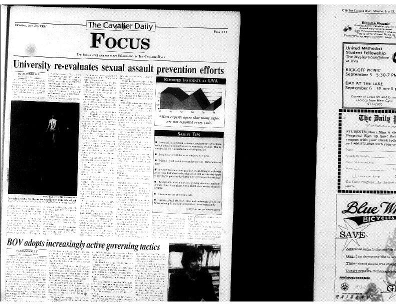 1997-07-21 Cavalier Daily University Re-Evaluates Sexual Assault Prevention Efforts.pdf