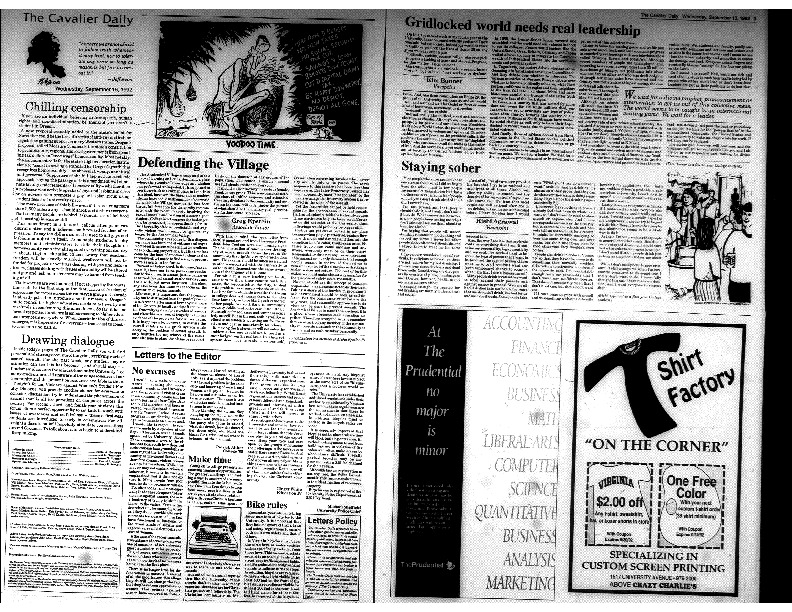 Cavalier Daily Sept 16, 1992 - Drawing Dialogue; Defending the Village; No excuses.pdf