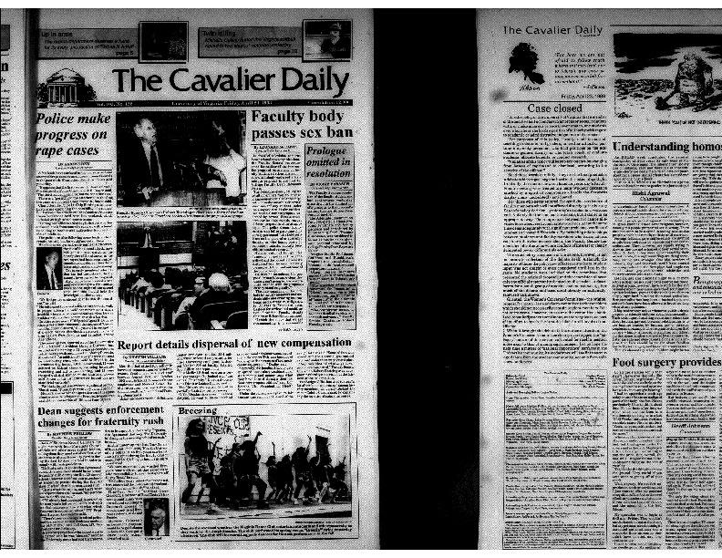 Cavalier Daily Apr 23, 1993 - Police Make Progress on Rape Cases; Faculty Body Passes Sex Ban.pdf