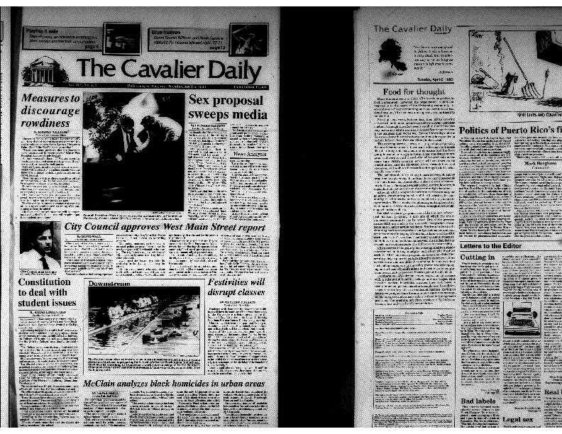 Cavalier Daily Apr 6, 1993 - Sex Proposal Sweeps Media.pdf