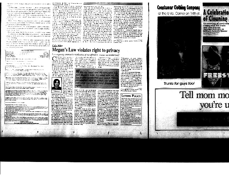 1998-02-27 Cavalier Daily Megan's Law Violates Right to Privacy.pdf