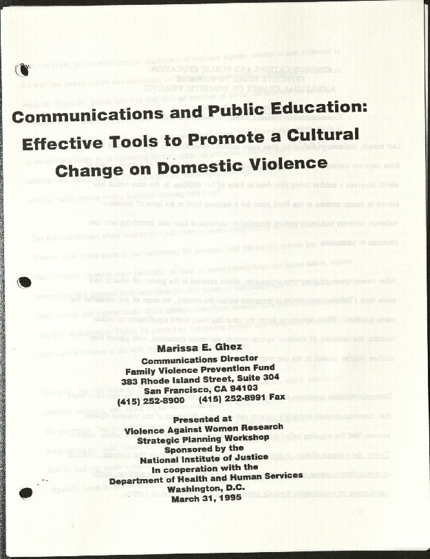 Communications & Public Education- Effective tools to promote a cultural change on Domestic Violence- Marissa E. Ghez.pdf