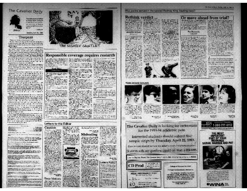 Cavalier Daily Apr 19, 1993 - Trespass; Caution.pdf