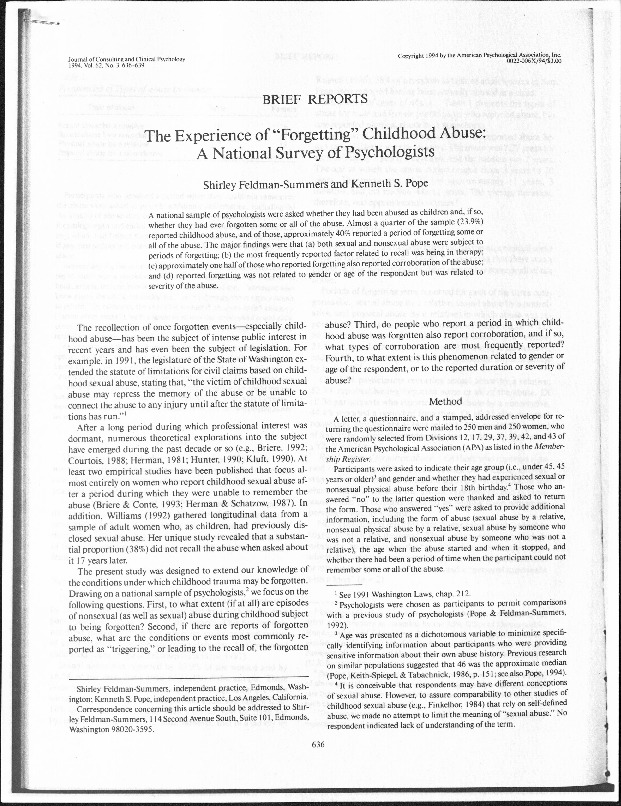Experience of %22Forgetting%22 Childhood Abuse.pdf