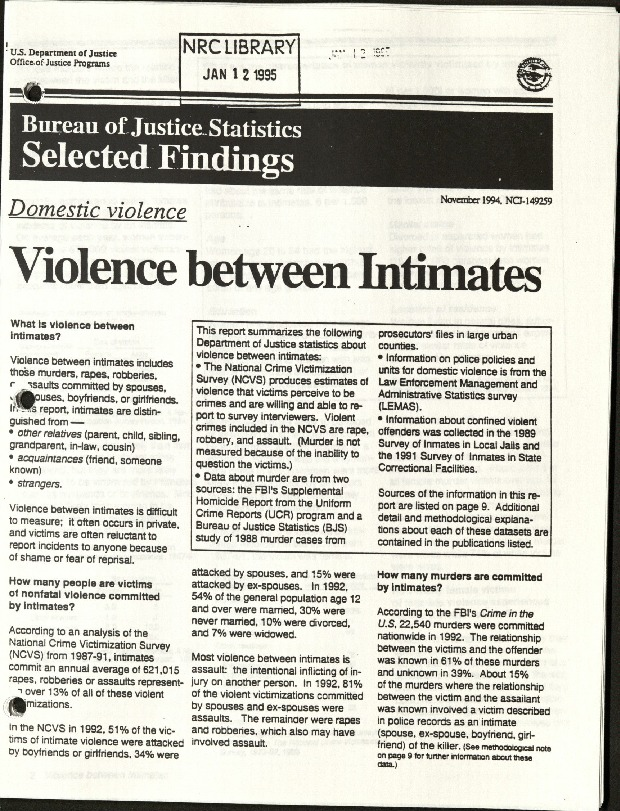 Bureau of Justice Statistics selected findings- Violence between Intimates.pdf