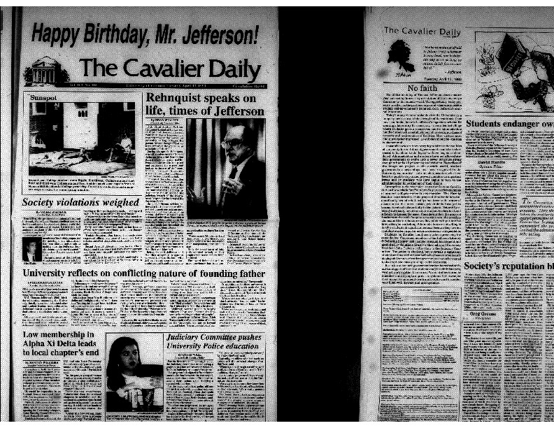 Cavalier Daily Apr 13, 1993 - Society Violations Weighed; University Reflects on Conflicting Nature of Founding Father.pdf