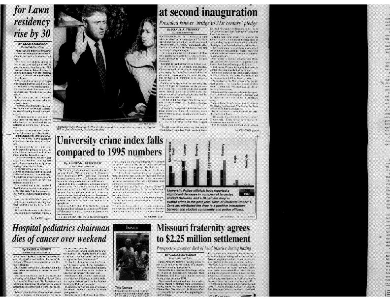 1996-01-21 Cavalier Daily University Crime Index Falls Compared to 1995 Numbers (part 1).pdf