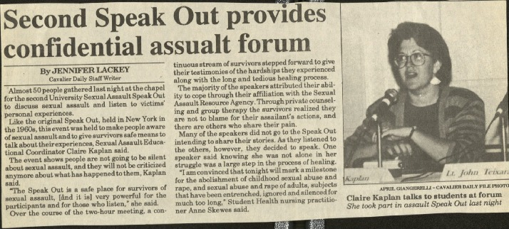 Second Speak Out provides confidential assault forum- Lackey.pdf
