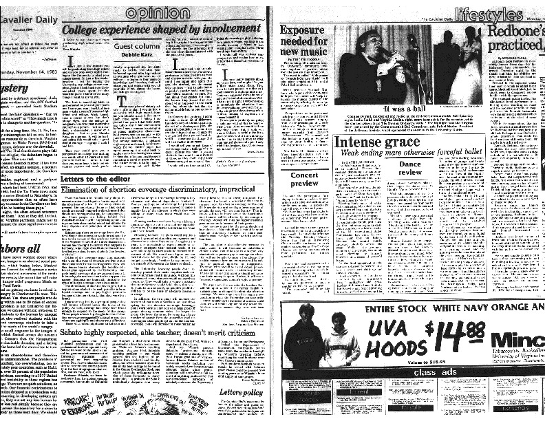 1983-11-14 Cavalier Daily Elimination of Abortion Coverage Discriminatory, Impractical.pdf