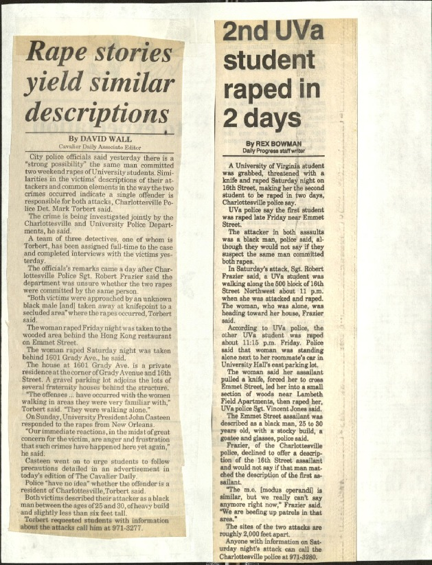 Rape stories yield similar descriptions-Wall, 2nd UVA student raped in 2 days-Bowman.pdf