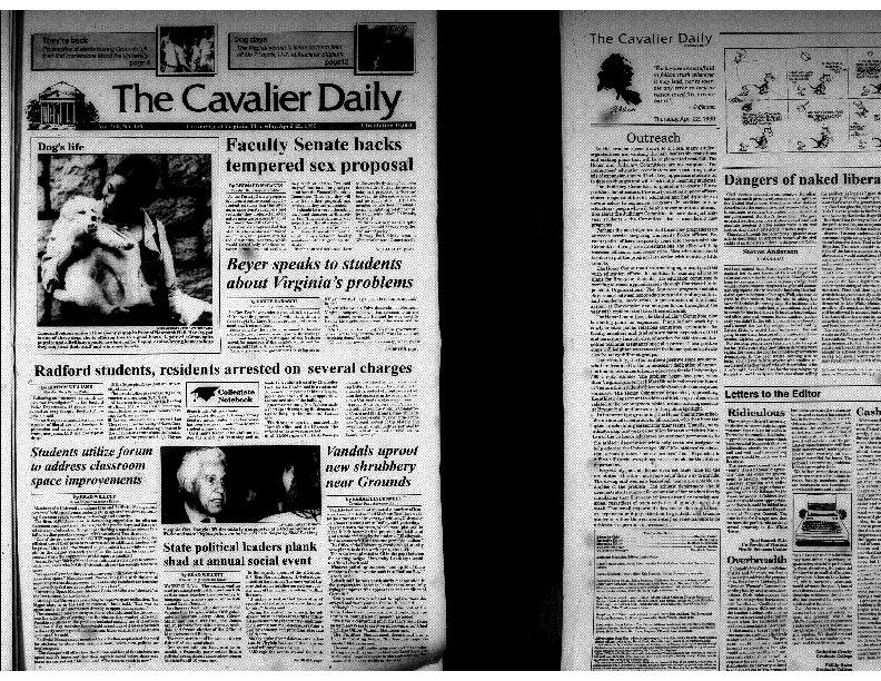 Cavalier Daily Apr 22, 1993 - Faculty Senate Backs Tempered Sex Proposal.pdf