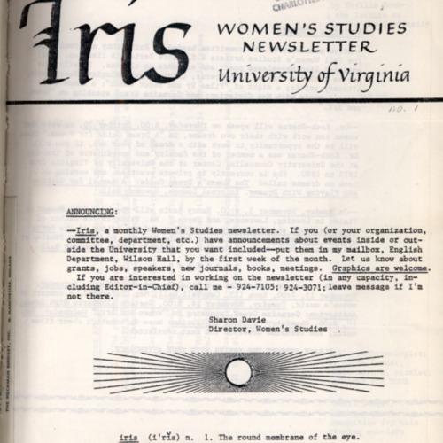 Iris Magazine No. 1, Fall 1980