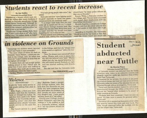Students react to recent increase in violence on Grounds-Goldlin, Student abducted near Tuttle-Nixon.pdf