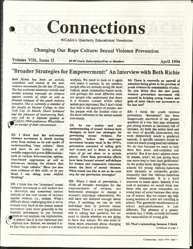 Connections- WCASA's quarterly educational newsletter- April 1994- Changing our Rape Culture- Sexual Violence Prevention.pdf