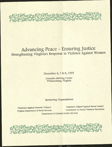 Advacning Peace-Ensuring Justice-Strengthening VA's response to violence against women- Dec. 1995.pdf