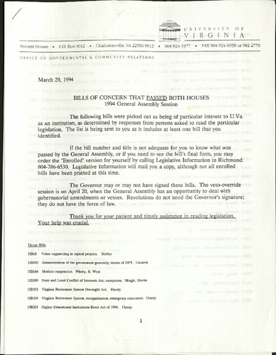 Bills of Concern that Passed Both Houses- 1994- University of Virginia.pdf