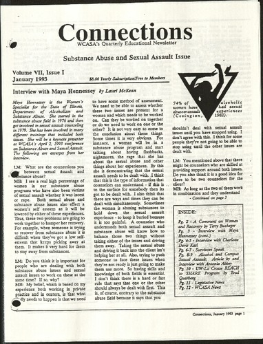 Connections- WCASA's quarterly educational newsletter- Substance Abuse & Sexual Assault Issue- Vol. VII, Issue I, Jan. 1993.pdf