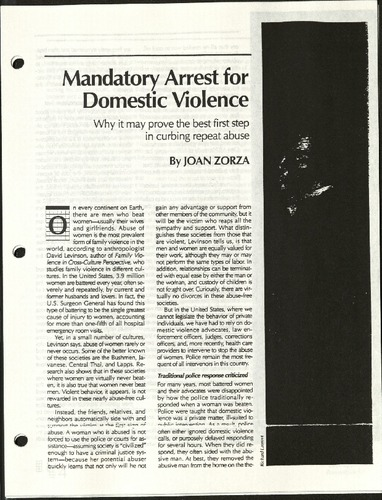Mandatory Arrest for Domestic Violence- Zorza.pdf