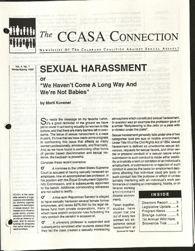 CCASA Connection- Sexual Harassment- Vol. 4, No. 1- Winter:Spring, 1995.pdf